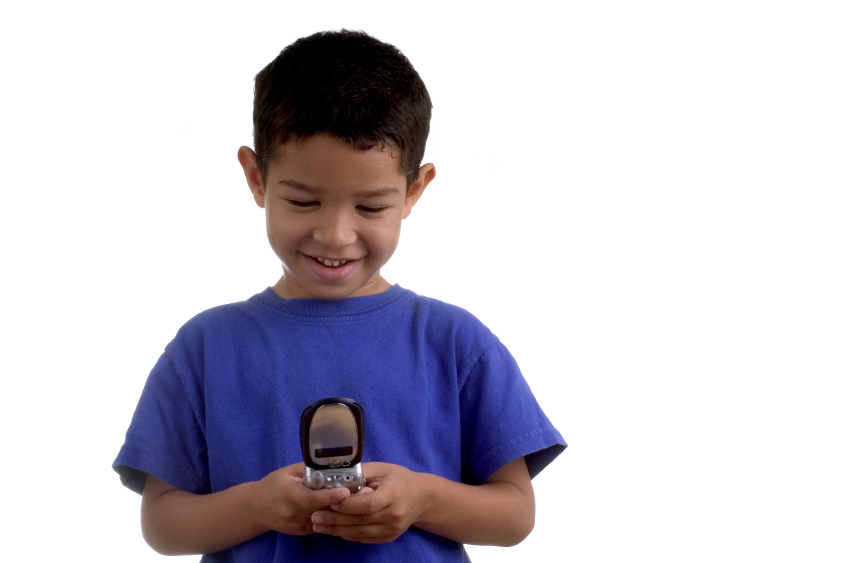 Child with flip cell phone